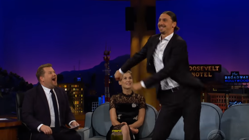 Zlatan Ibrahimovic Teaches James Corden How To Floss On Late Late Show