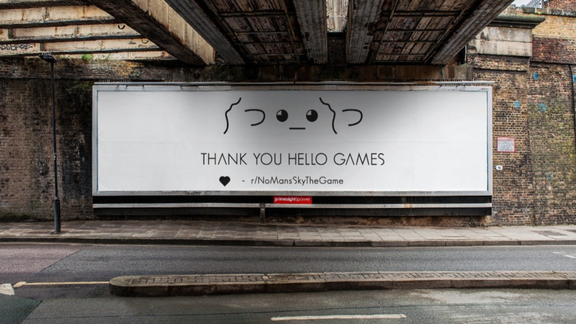 "​'No Man's Sky' Community Buys Billboard Outside Dev's Office To Say ""Thank You"""