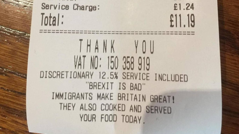 ​Restaurant Owner Receiving Threats After Brexit Receipt Message