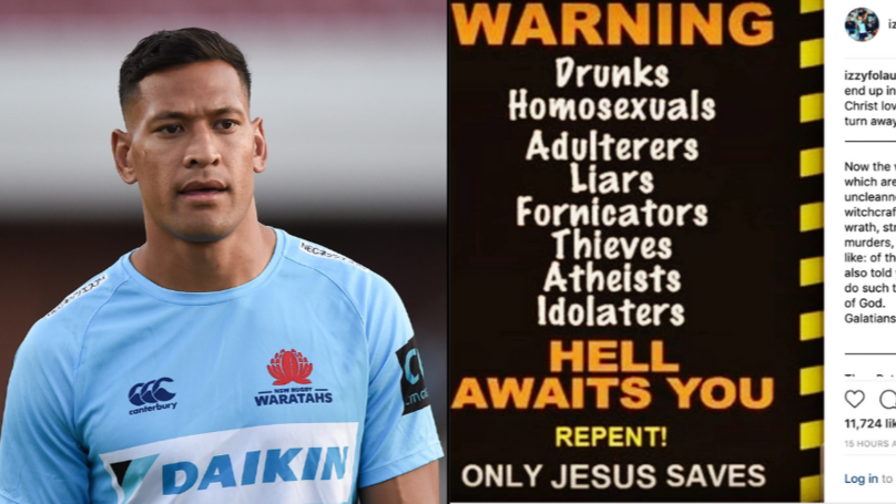 Israel Folau Sacked By Rugby Australia Over Homophobic Social Media Post