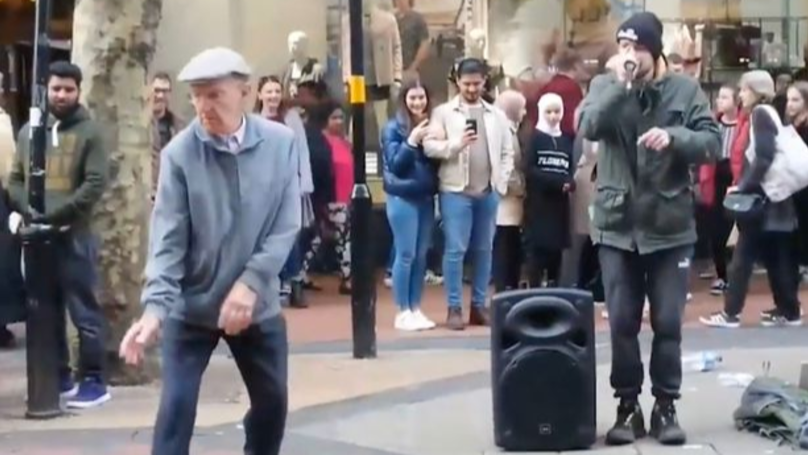 Dancing Pensioner Performs Beatboxing Dance As Crowd Gathers