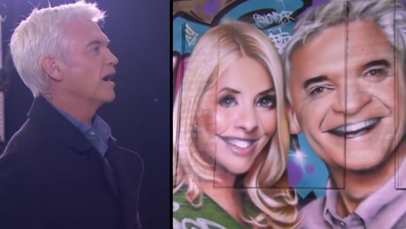 Philip Schofield Barely Contains Emotions At 10ft Mural Of His Face