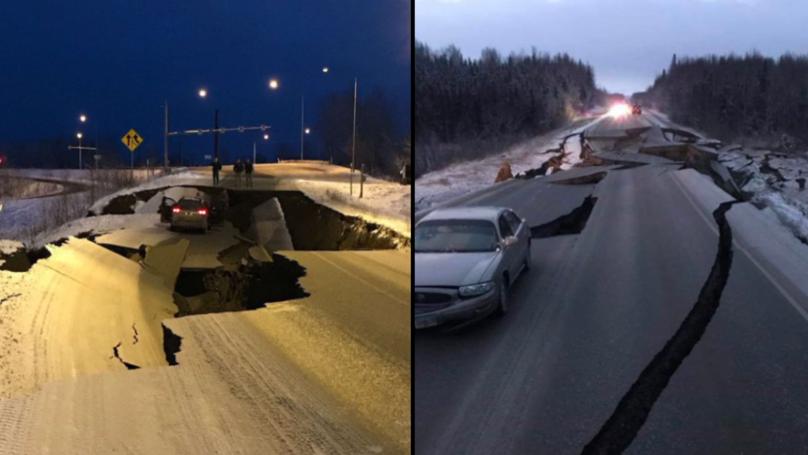 一场大地震袭击了阿拉斯加,照片真的很恐怖。