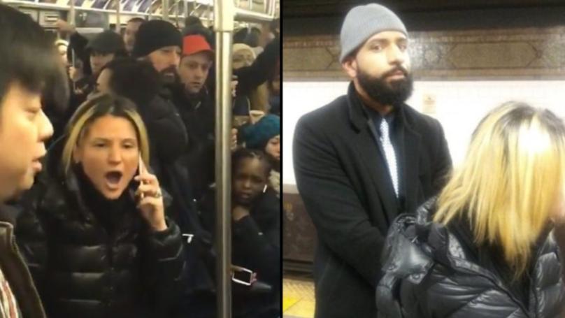 Passenger Makes Citizen's Arrest After Filming Woman Shouting Racial Slurs On The Train