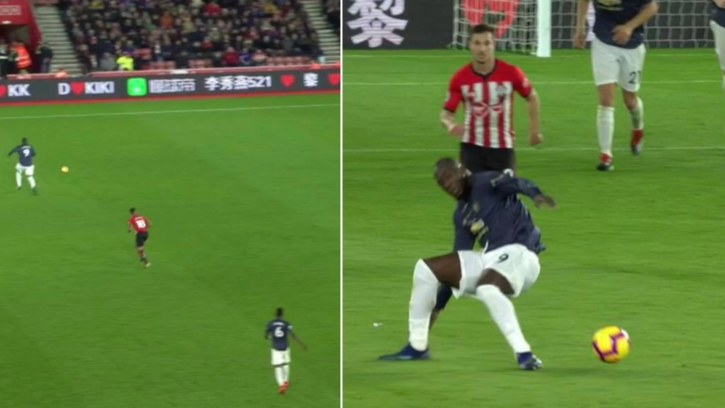 Romelu Lukaku Goes Down Injured After Falling Over His First Touch...Seriously