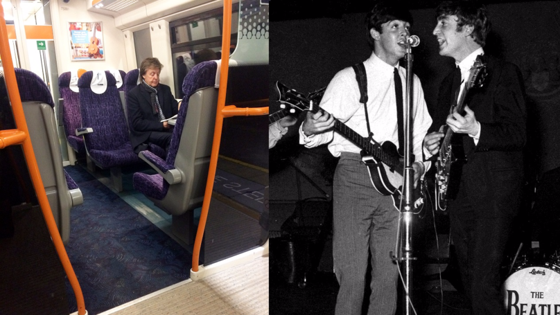 Multi-Millionaire Sir Paul McCartney Gets The Train All Alone Like You And Me
