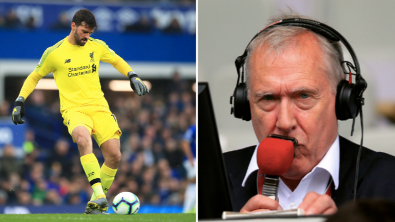 "Martin Tyler Drops ""Are Liverpool Going To Slip?"" Line When Alisson Falls Over"