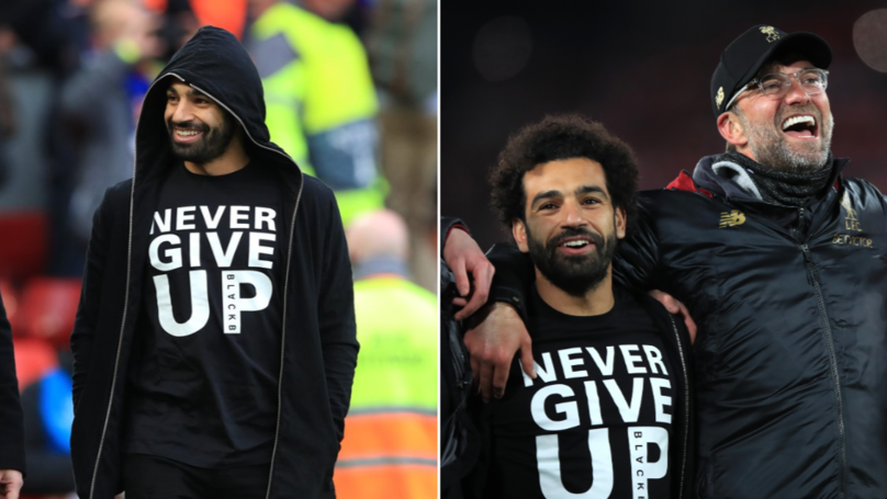 "Mohamed Salah Wore A ""Never Give Up"" T-Shirt At Anfield"
