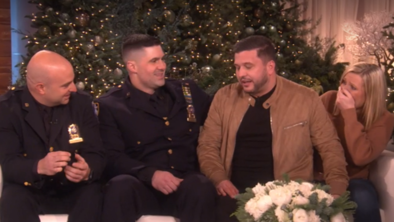 ​Ellen Reunites Brits With NYC Cops Who Found Engagement Ring Lost Down Grid