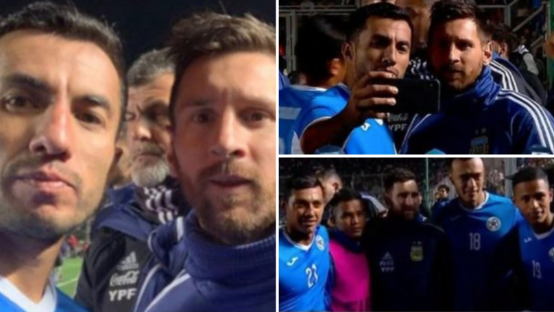 Humble Lionel Messi Chats And Poses For Photos With Nicaragua Players After Argentina's Win