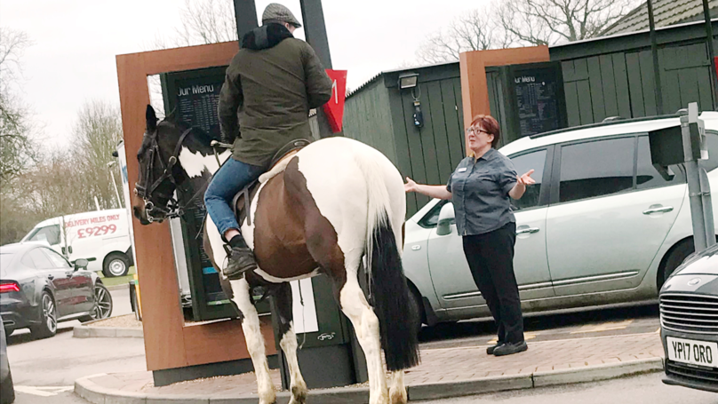 Man Attempts To Ride Horse Through McDonald's Drive-Thru