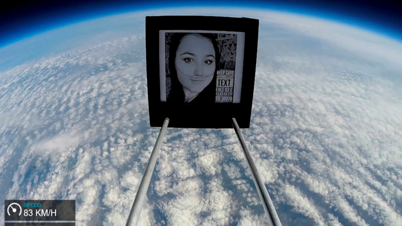 Pals Send Photo Of Their Ill Friend Into Space To Help Raise Awareness Of Her Plight