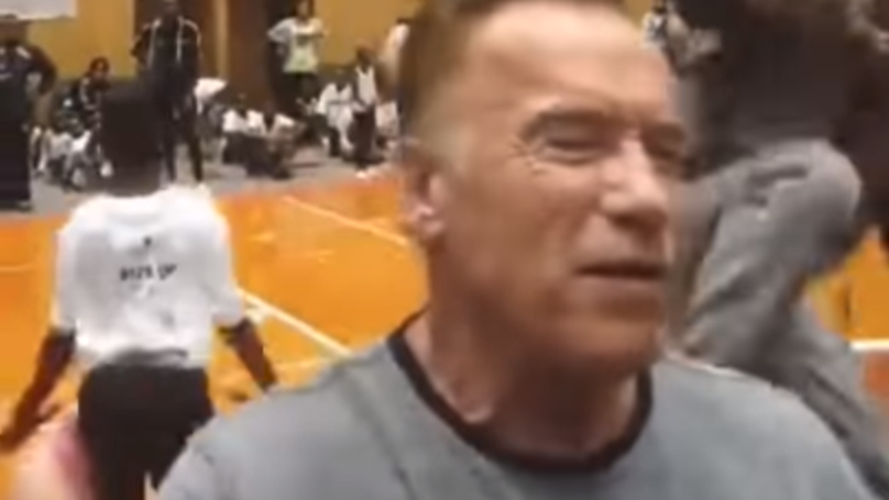 Arnold Schwarzenegger Drop Kicked From Behind While Taking Selfies With Fans