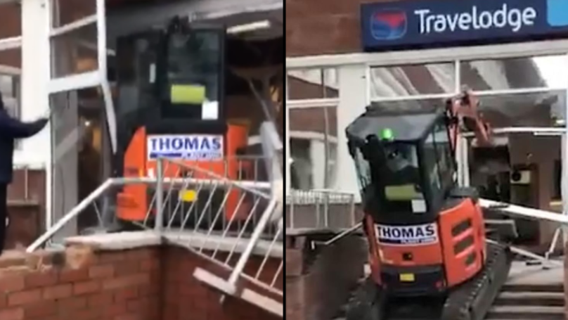Construction Firm Speaks Out After Worker Smashes Digger Into Travelodge