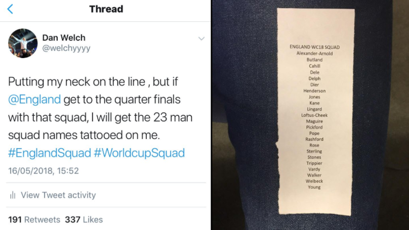 England Fan Gets Whole World Cup Squad Tattoo On His Leg