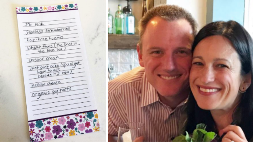 Woman Gives Husband A Fake Shopping List To Get Him Off The Couch