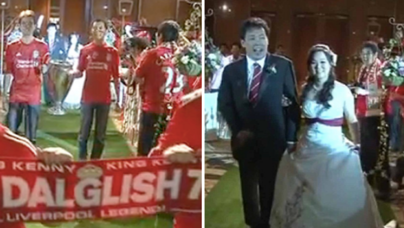 """Liverpool Fans Walk Down Aisle To """"You'll Never Walk Alone"""" At Their Wedding"""