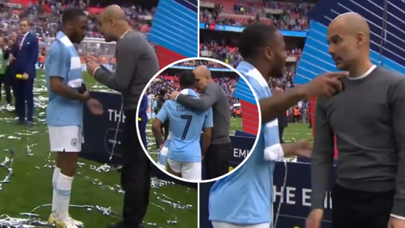Pep Guardiola Gives Passionate Lecture To Raheem Sterling After FA Cup Final
