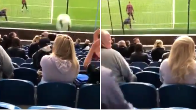 Burnley Fan Gets Ball Smacked In Her Face, Doesn't Even Flinch