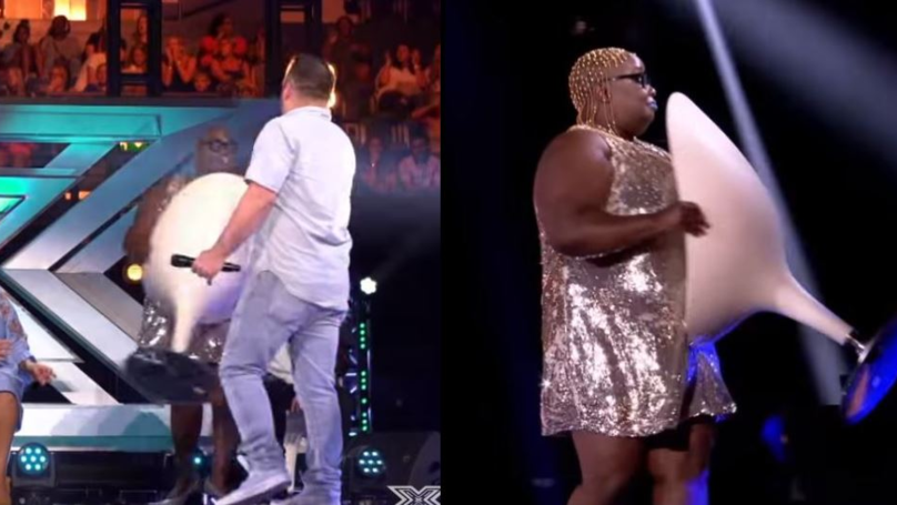 Woman Storms Off Stage With Chair On X-Factor After Being Booted Off