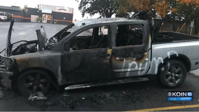 Man's Truck Gets Burnt Out Because Of Pro-Trump Stickers