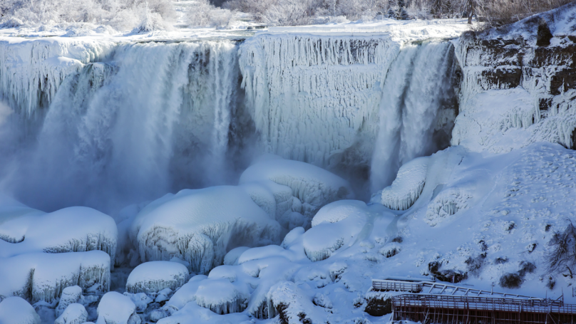 Niagara Falls Freezes Over In Extremely Cold Sub-Zero Temperatures