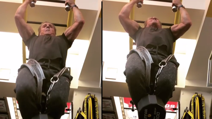 Sylvester Stallone, 71, Does Pull Ups With 100lb Weight