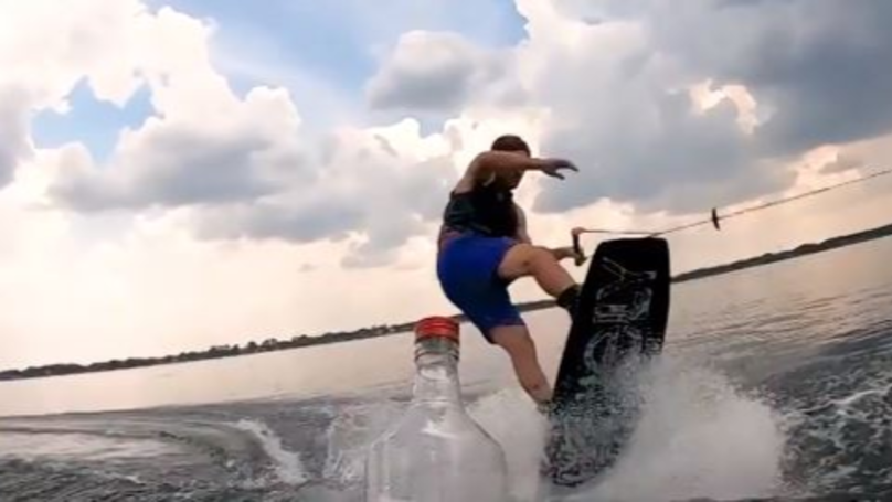 Wakeboarder Nails The Bottle Cap Challenge On The Water