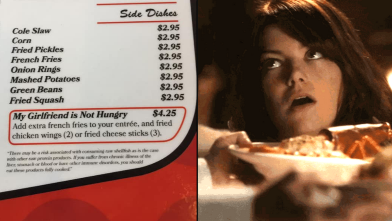 Restaurant Introduces 'My Girlfriend Is Not Hungry' Menu Option