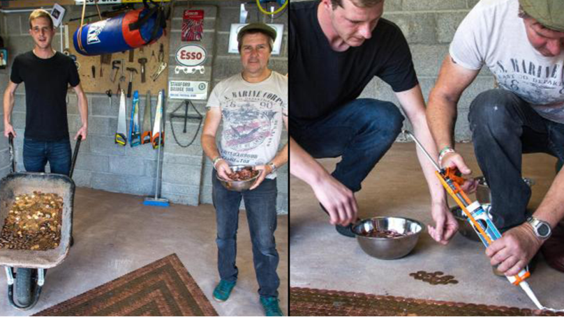 Father And Son Aren't Messing About As They Tile Garage With 33,000 Copper Coins
