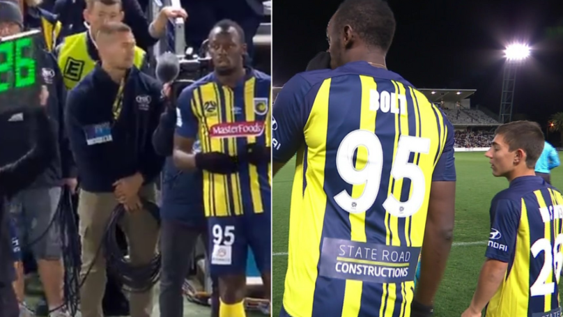 Usain Bolt Comes On To Make His Professional Debut For Central Coast Mariners