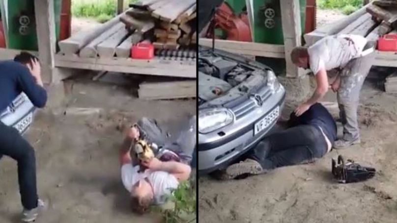 Guy Faints After His Mate Pretends To Get Butchered By Chainsaw