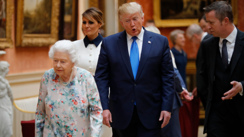 Donald Trump Appears To Break Royal Protocol And Touches The Queen
