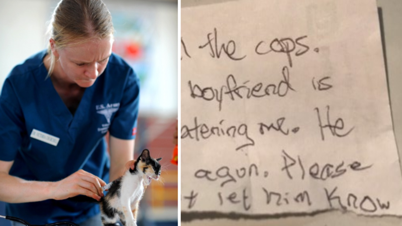 Women Escapes Abusive Boyfriend After Slipping Note To Vet