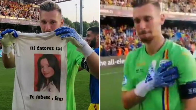 Romania Under 21 Goalkeeper Ionut Radu Tears Up As He Displays Shirt With Late Sister's Face