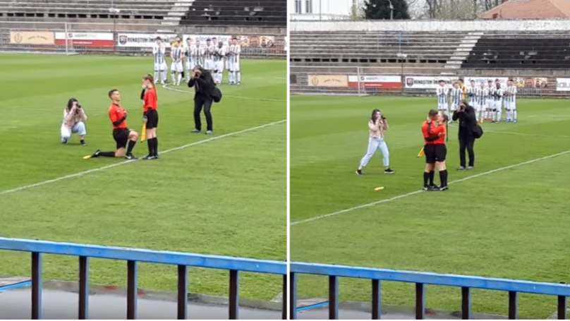 Assistant Referee Asks Other Assistant To Marry Him Before Game, She Says Yes