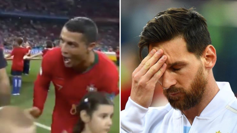 The Contrasting Pictures Of Cristiano Ronaldo And Lionel Messi During Their Team's National Anthem