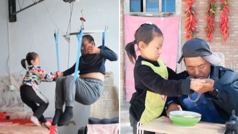 Six-Year-Old Girl Cares For Her Paralysed Dad After Her Mum Abandoned Them