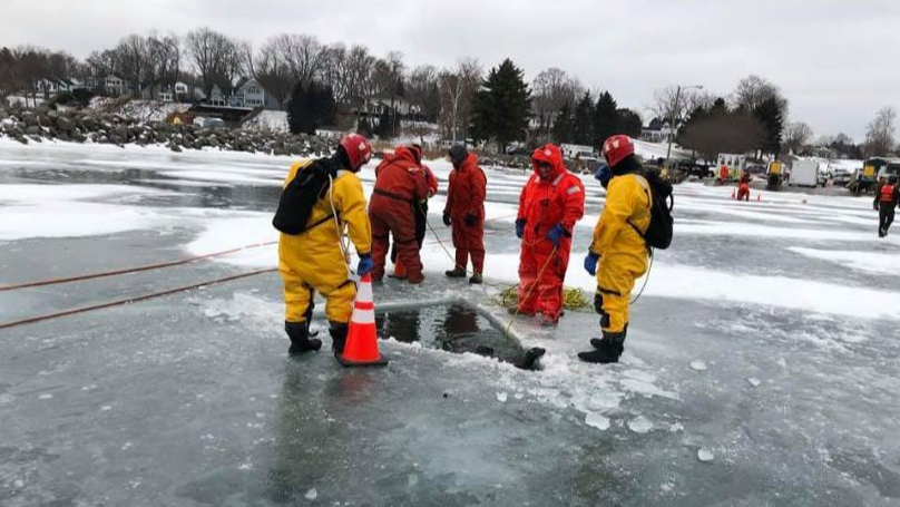 Man Rescued From Truck Just Before It Sinks Below Icy Surface