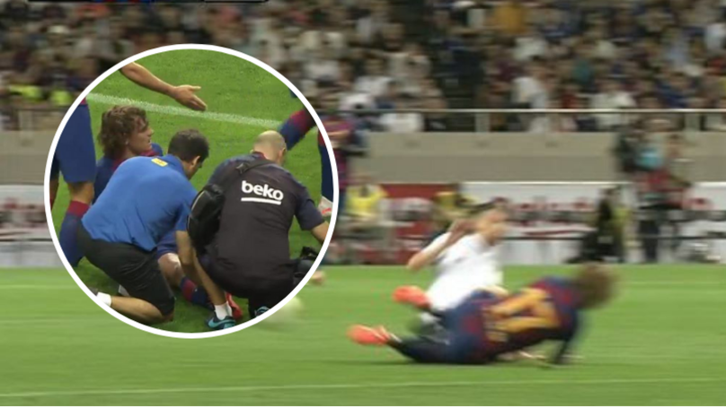 Jorginho Leaves Griezmann Needing Treatment After Nasty Two-Footed Tackle On The Barcelona Star