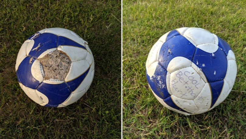 "Football Filled With Concrete Left In Playing Field With Note Saying ""Bet That Hurt"""
