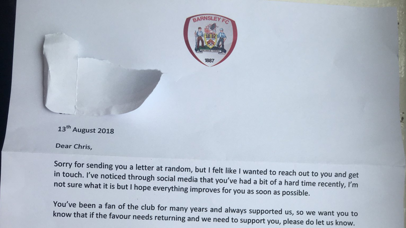 Barnsley Fan Gets Touching Letter From Club's Chief Exec After Struggling With Mental Health