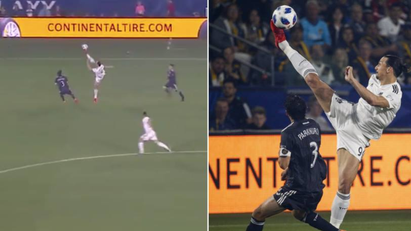 The Ridiculous Moment Zlatan Ibrahimovic Controls The Ball Above His Own Head