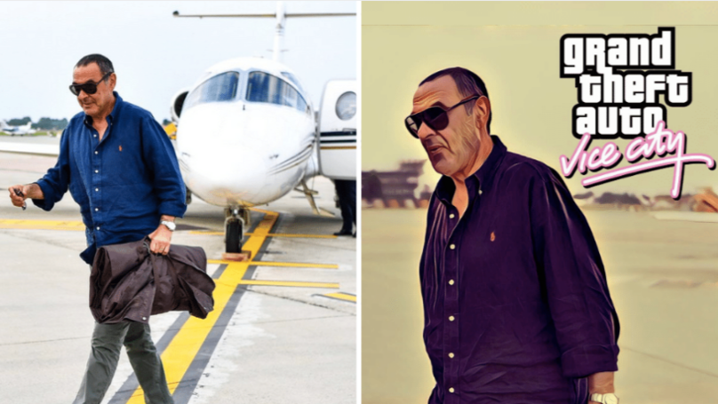 Maurizio Sarri Arrives In Italy Looking Like A GTA Loading Screen