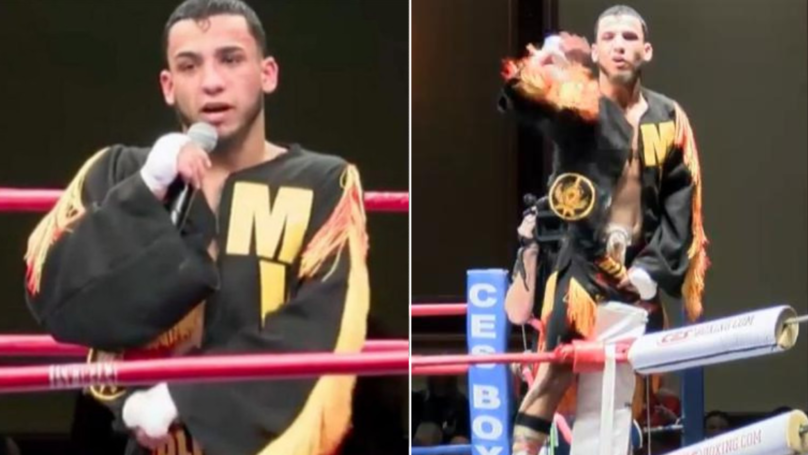 Boxer Pulls Down His Shorts In Post-Match Speech To Reveal Extraordinary Secret
