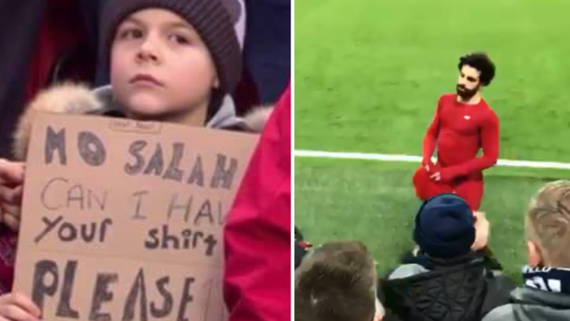 Little Lad Holds Up Sign Asking For Salah's Shirt, 'The Egyptian King' Responds