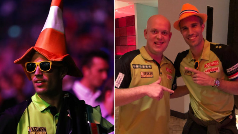 Robin van Persie Turns Up At The Darts In Fancy Dress To Support Michael van Gerwen
