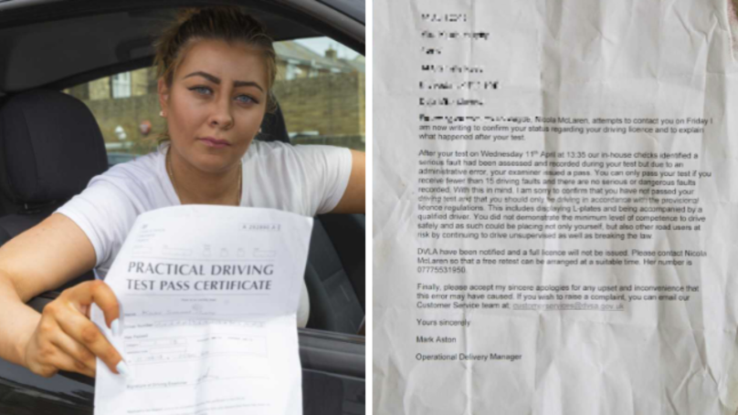 New Mum 'Passes' Her Driving Test, But Gets Told She's Failed A Day Later