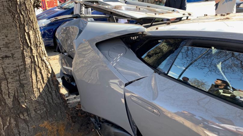 Lamborghini Driver Crashes Car Into Tree And Brick Wall In London