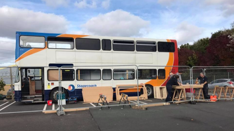​Double Decker Bus Transformed Into 12-Bed Homeless Shelter